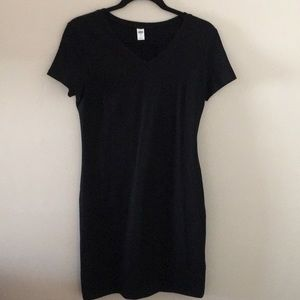 Old Navy fitted v neck t dress black small
